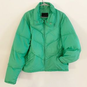Vintage JCPenny Green Puffer Quilted Nylon Jacket
